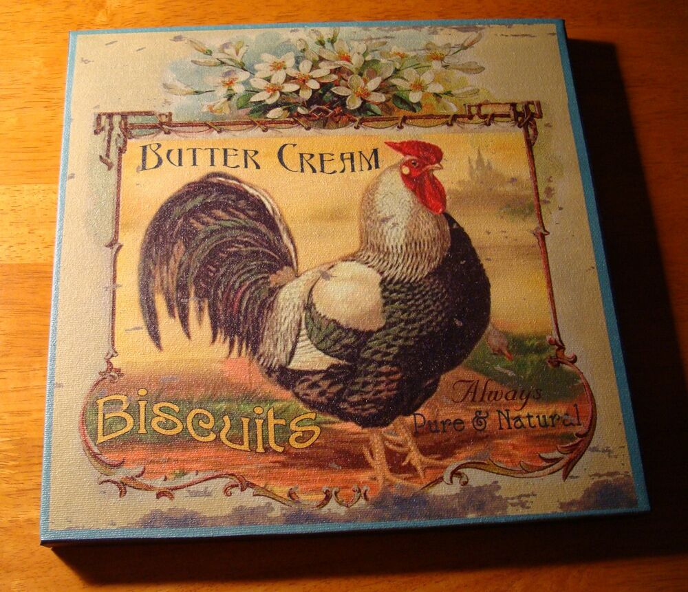 Buttercream Biscuits French Country Style Rooster Kitchen Sign Home Decor New Ebay