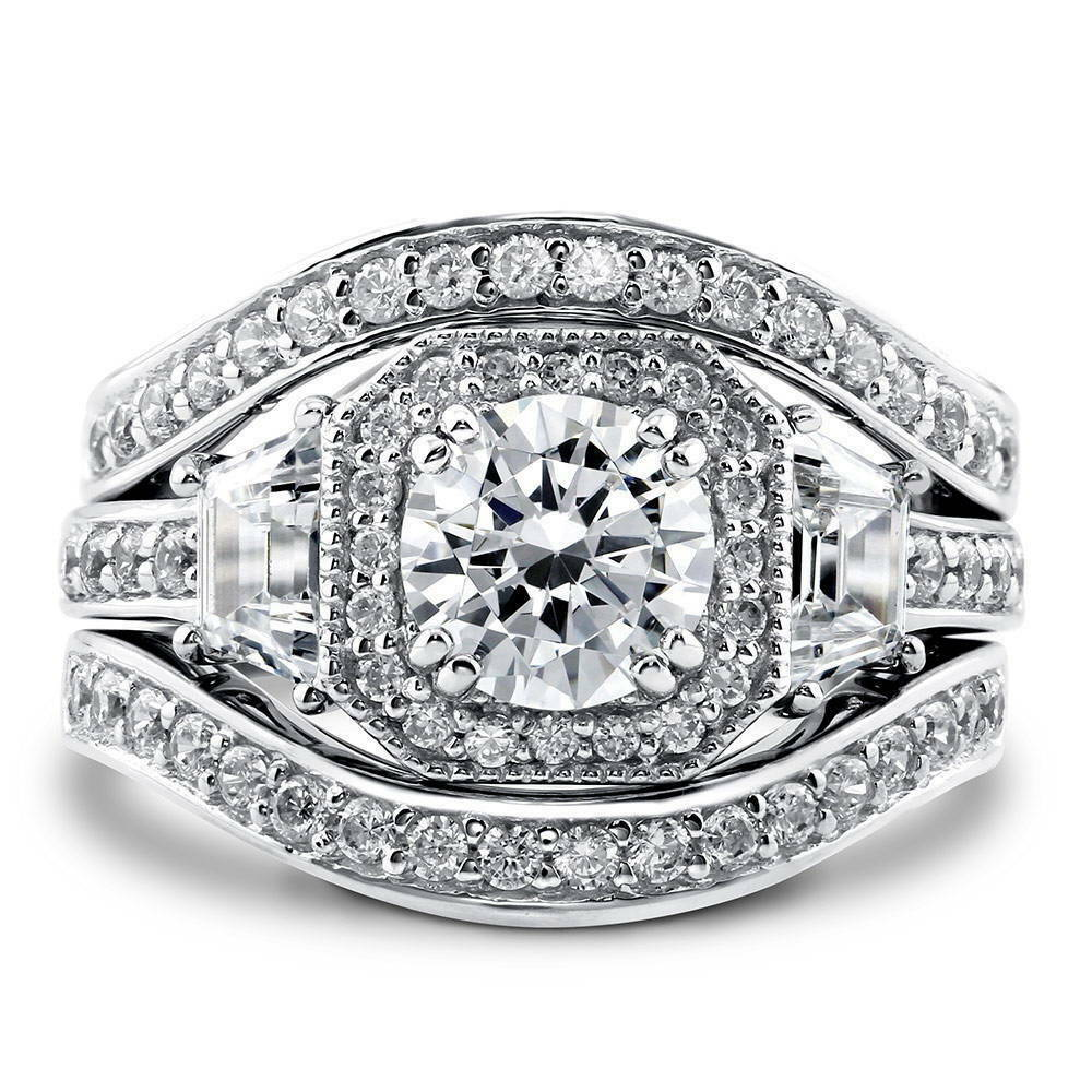 berricle sterling silver round cz art deco halo engagement ring set 2