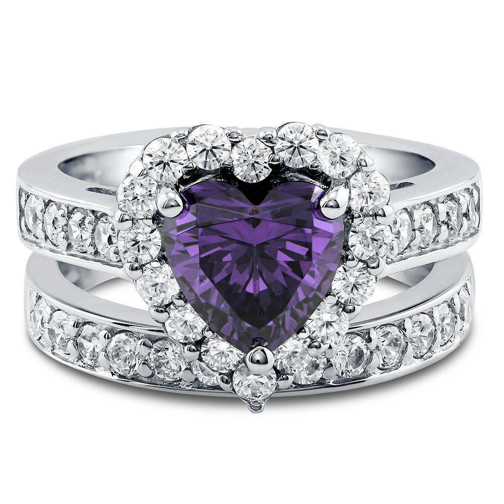 wedding band ring silver shaped simulated amethyst cz halo engagement 8421