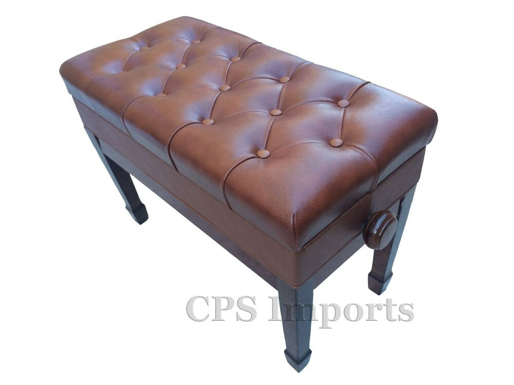 Duet Genuine Leather Walnut Adjustable Piano Bench Stool
