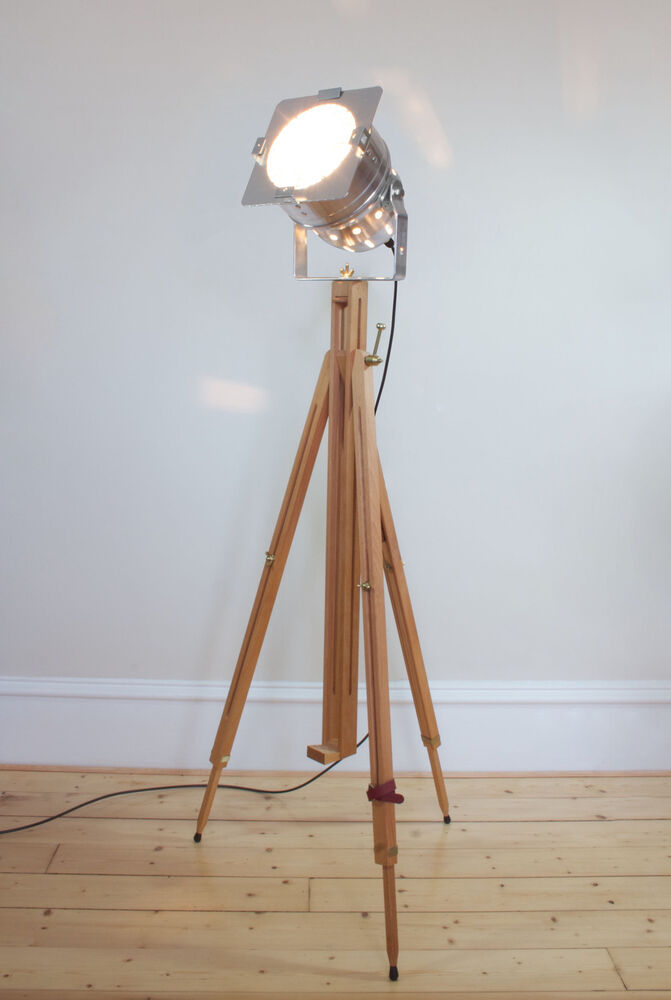 Classic theatre spot light with solid wooden tripod for Winston studio spotlight floor lamp on tripod