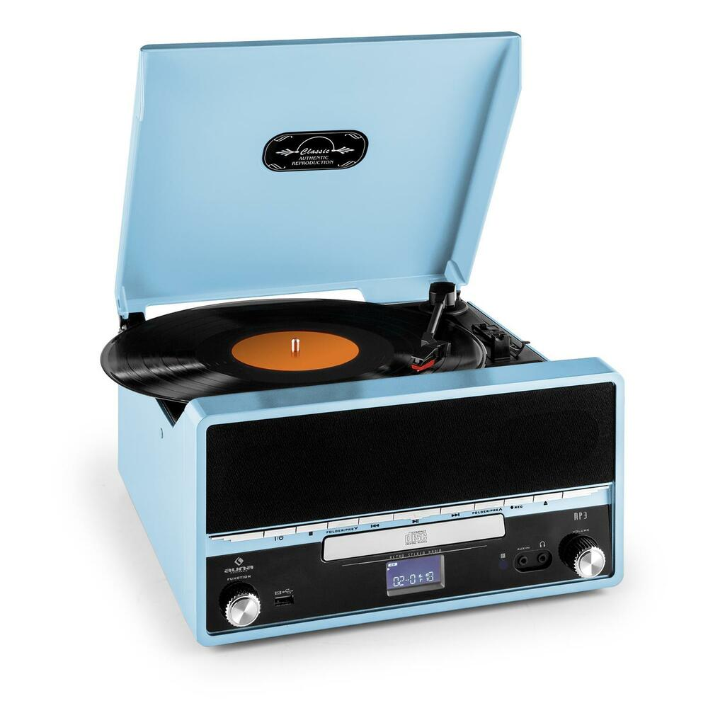 retro vinyl record player blue fm radio cd mp3 stereo system usb recording mode ebay. Black Bedroom Furniture Sets. Home Design Ideas