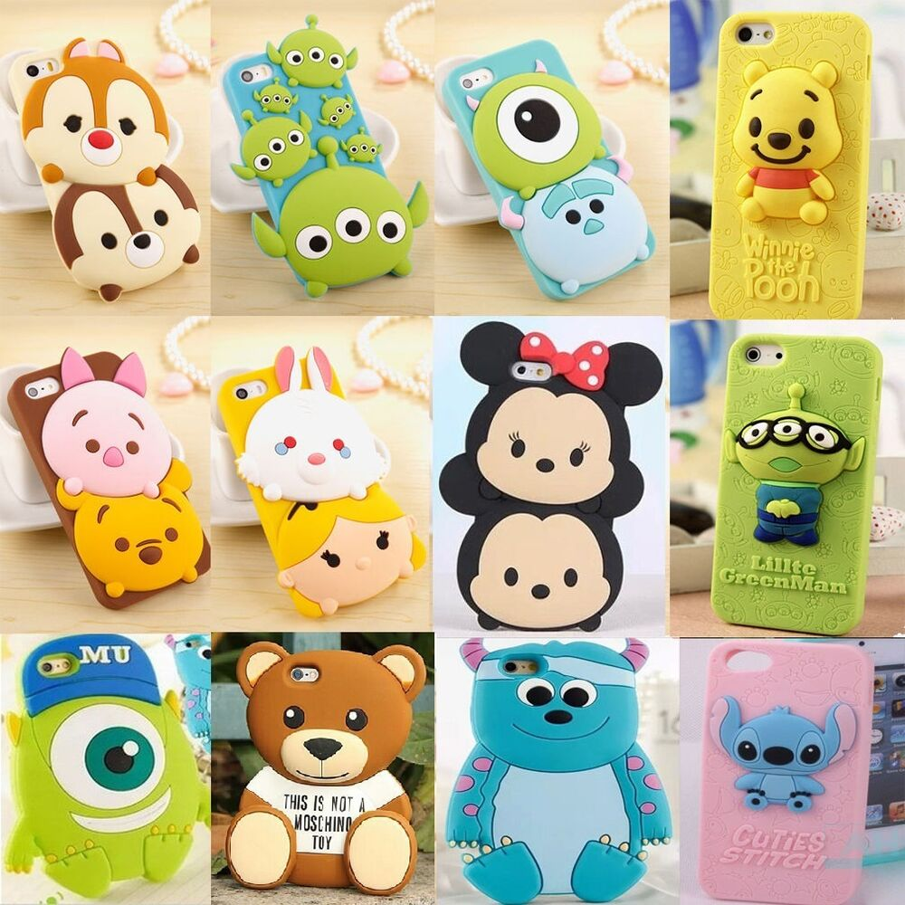 New cute 3d cartoon disney silicone rubber soft case for for 3d decoration for phone cases