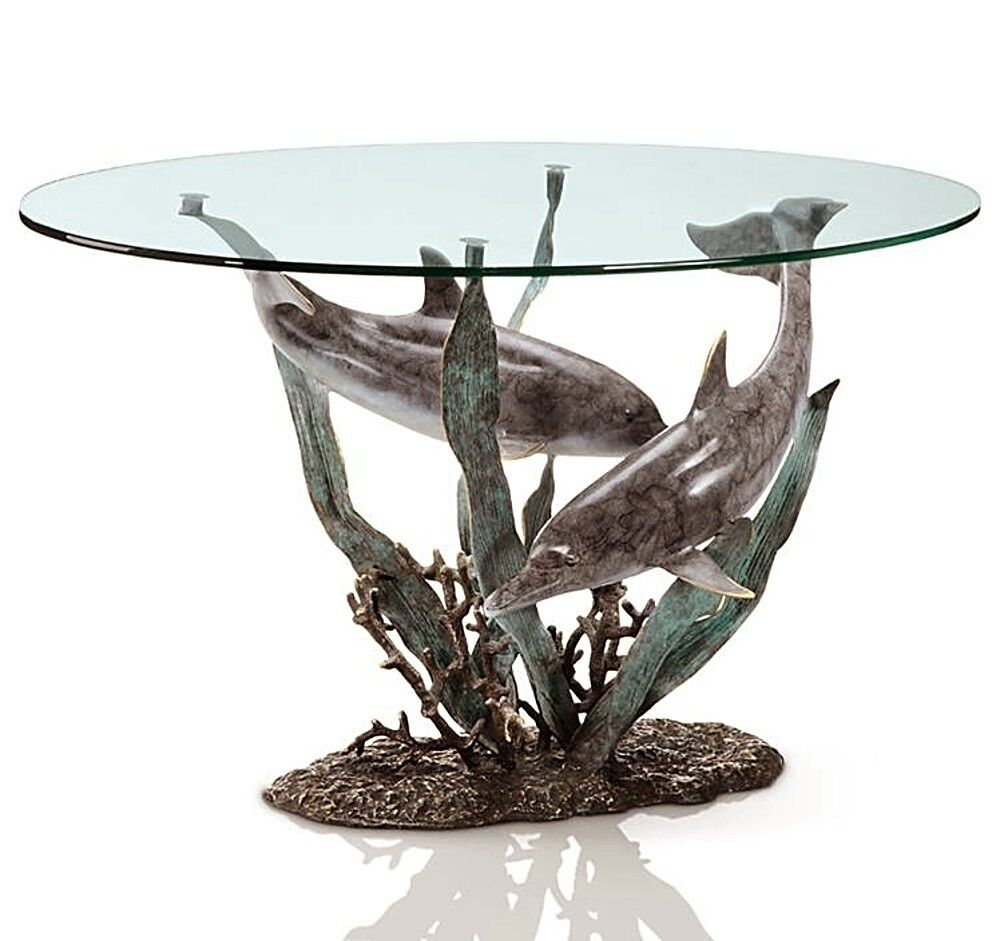 Brass Dolphin Duet Coffee Table Fish Coastal Nautical Sea Sculpture Spi Home Ebay