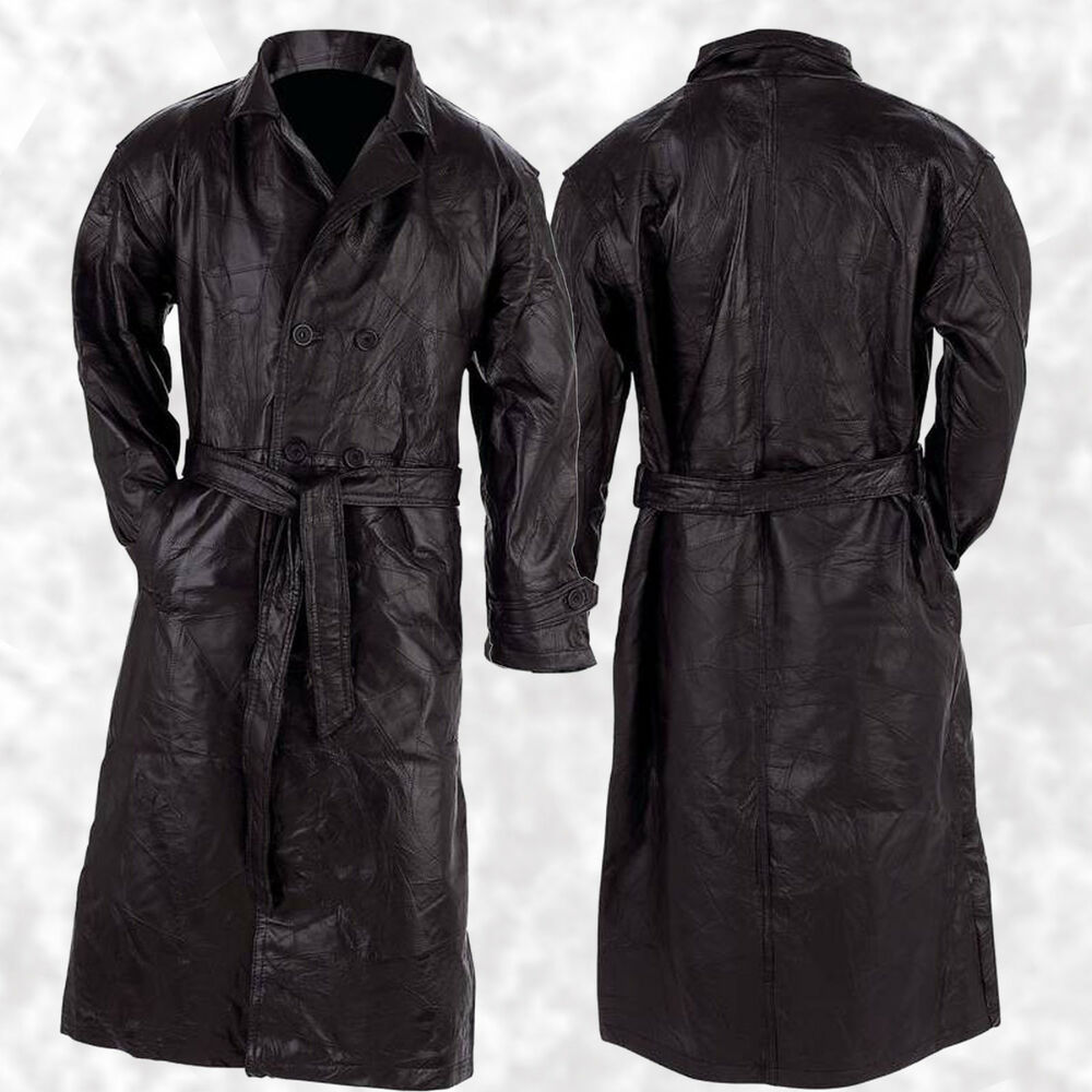 Mens Full Length Leather Coat | eBay