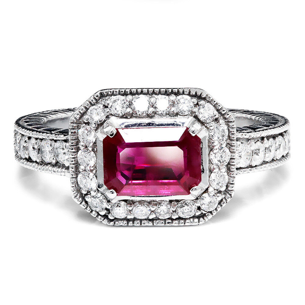 Sideways Set Ruby & Diamond Halo Style Engagement Ring 14K ...