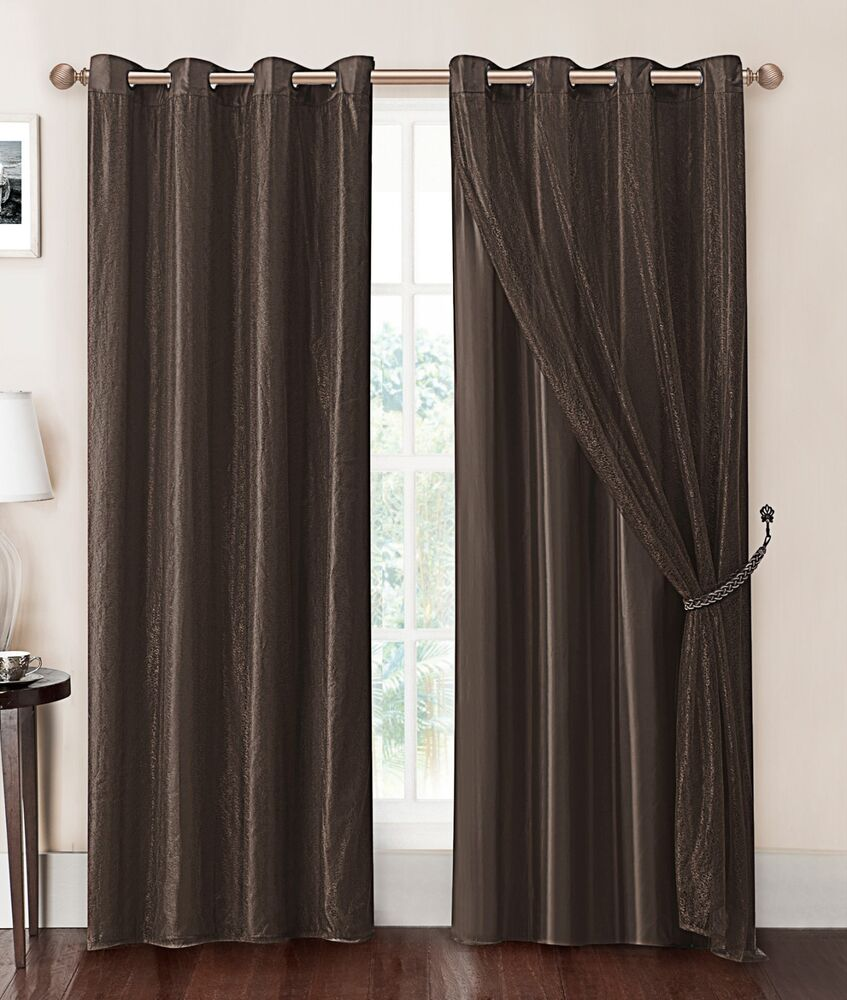 Mesh Curtain Panels : Chocolate brown double layer window curtain panel with