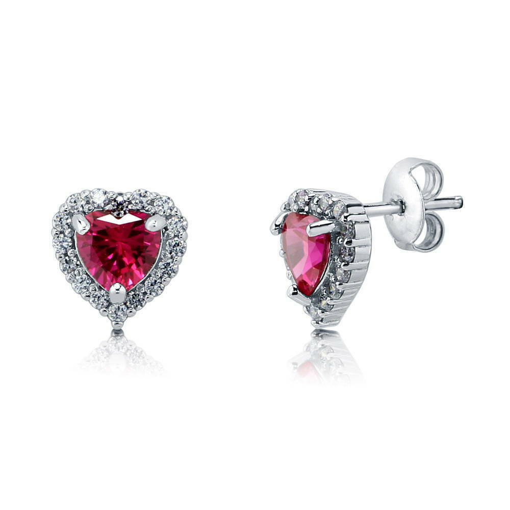 Berricle Sterling Silver Heart Shaped Simulated Ruby Cz
