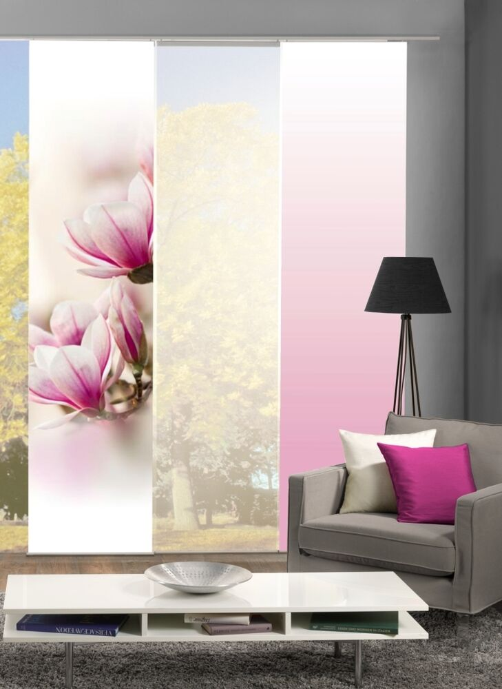 fl chenvorhang schiebevorhang bedruckt 60x245cm magnene magnolie rosa ros bl te ebay. Black Bedroom Furniture Sets. Home Design Ideas