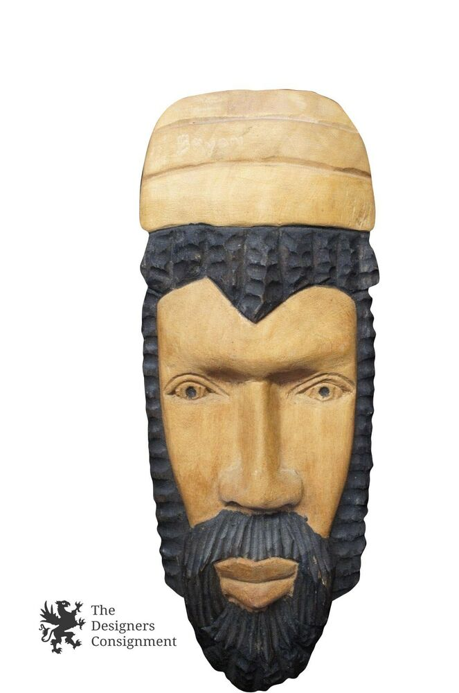 African wood carved mask tribal folk wall art display face