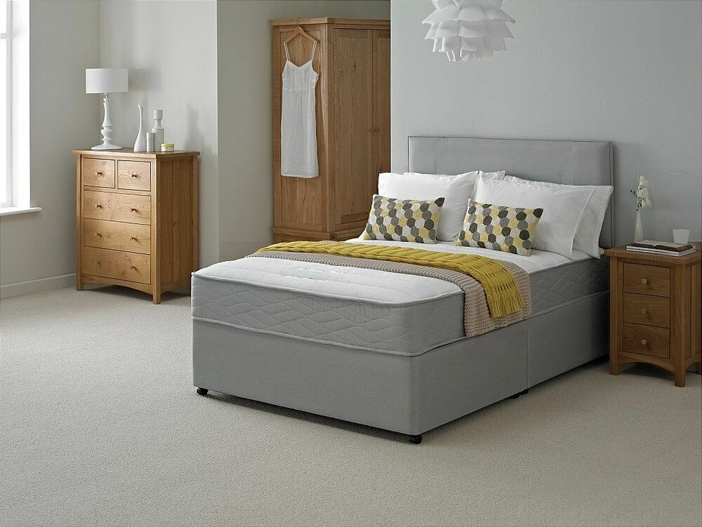 New grey quilted memory divan bed sprung memory foam for Divan beds double 4ft 6 sale