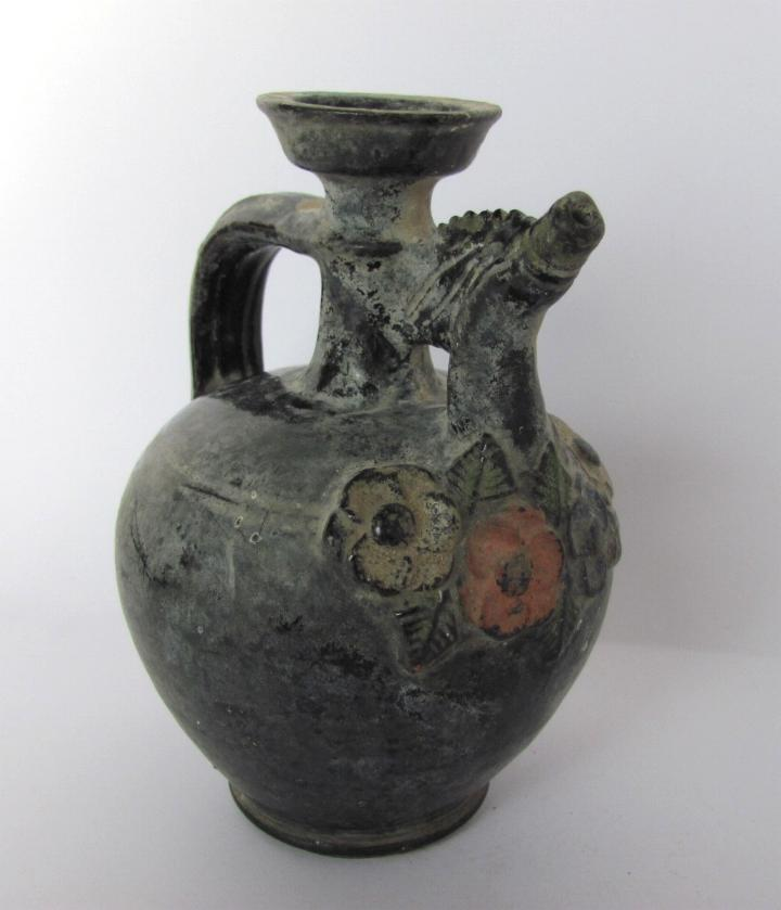 19C. ANTIQUE FLORAL REDWARE GLAZED POTTERY PITCHER JUG