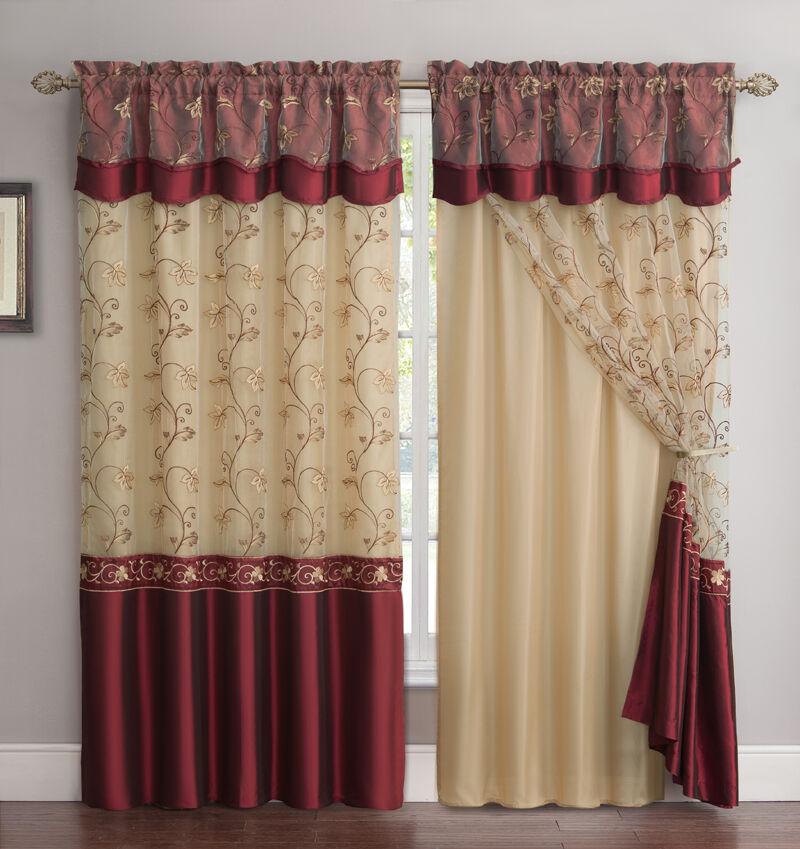 All In One Burgundy Window Curtain Drapery Panel Double Layer Solid Color B