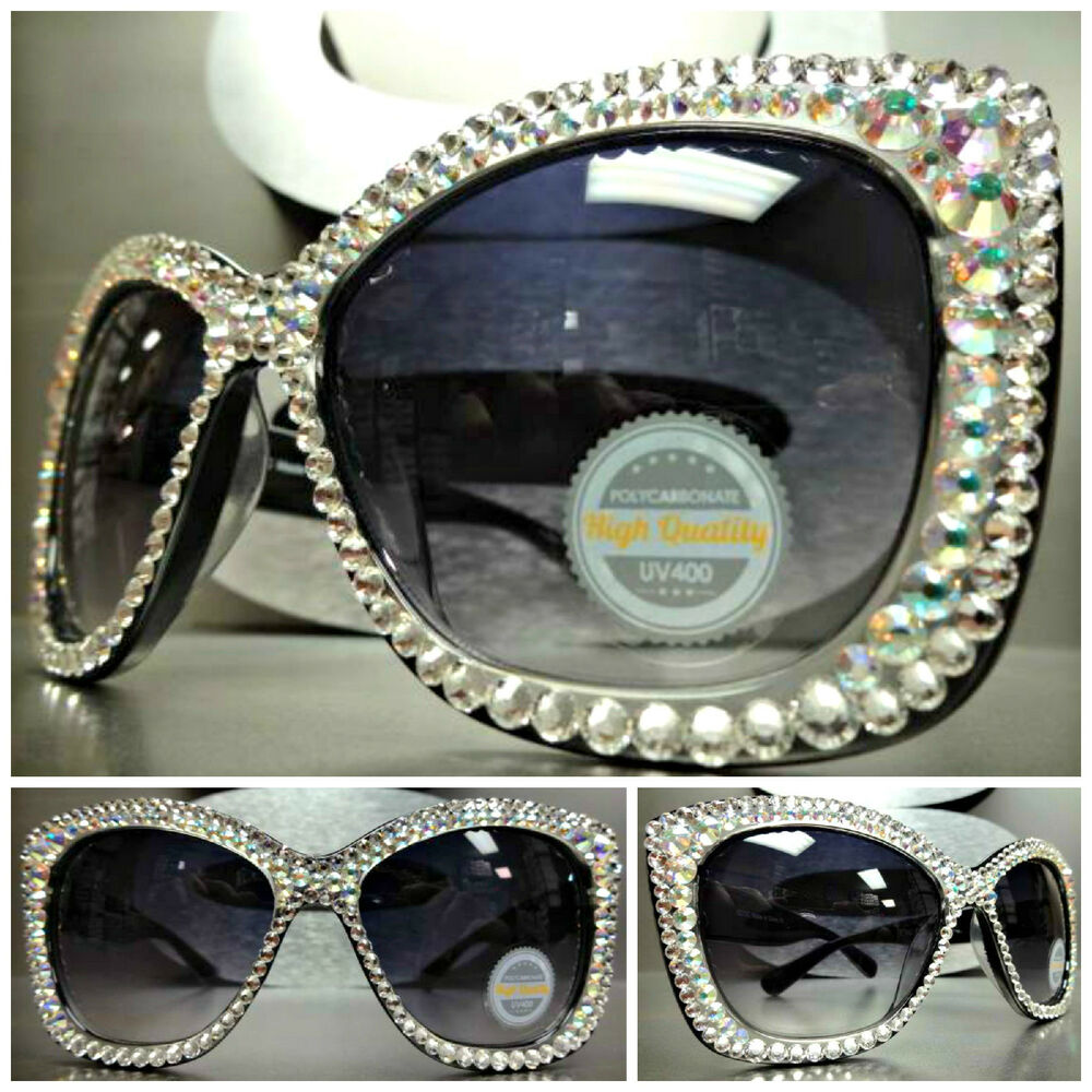 STUNNING VINTAGE CAT EYE Style BLING CRYSTALS SUN GLASSES ...