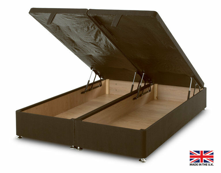 Exclusive bed world brown ottoman foot lift divan bed base for Double divan base and mattress