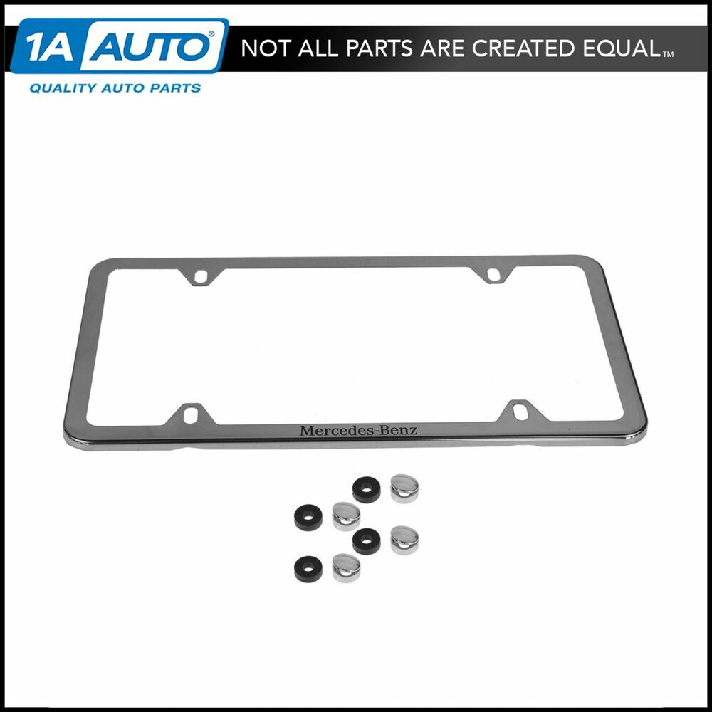 Oem q6880124 license plate frame polished stainless steel for Mercedes benz plate