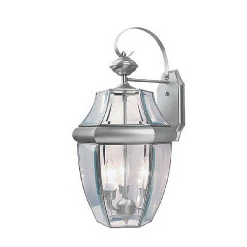 Brushed Nickel And Clear Beveled Glass Exterior Wall Light