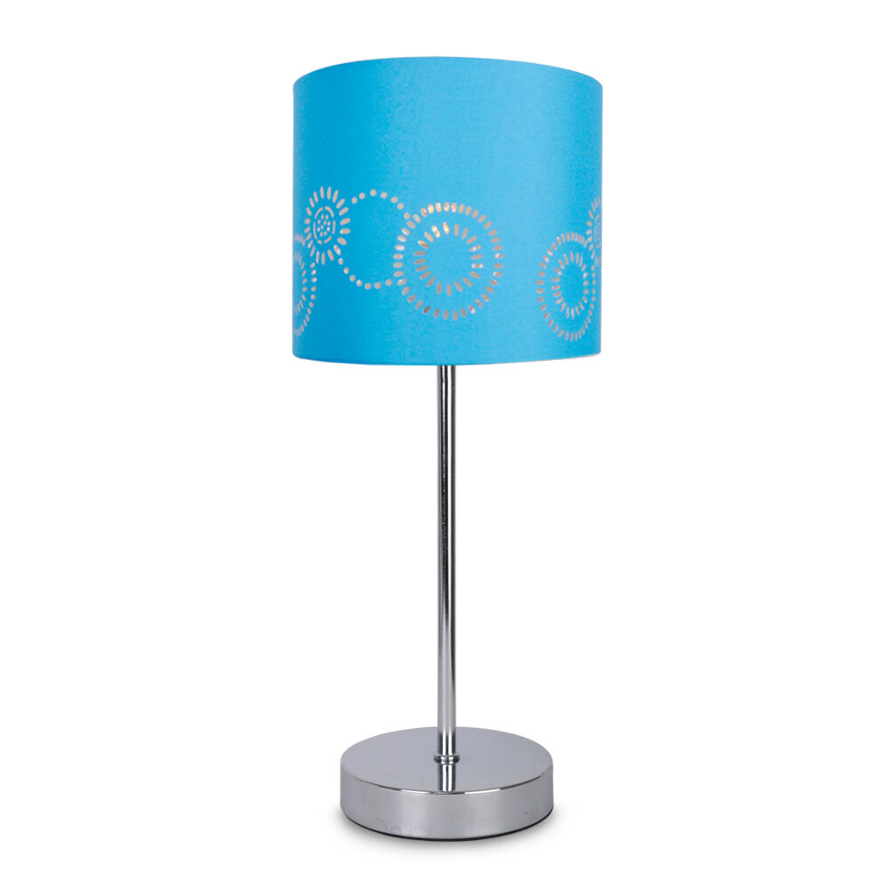 Modern Silver Chrome TOUCH Table Lamp Light Blue Laser Cut