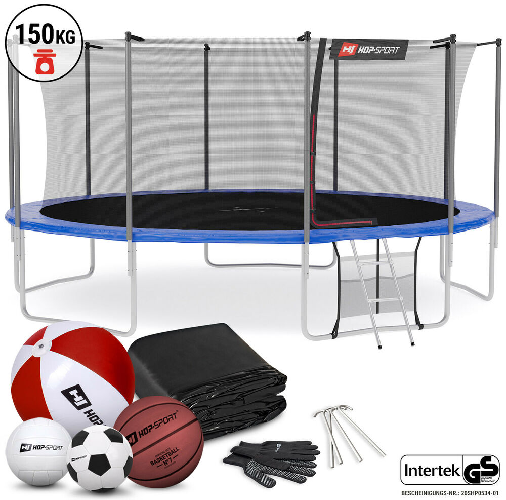 hop sport trampolin 2 44m 4 90m komplettset gartentrampolin netz leiter 150 kg ebay. Black Bedroom Furniture Sets. Home Design Ideas