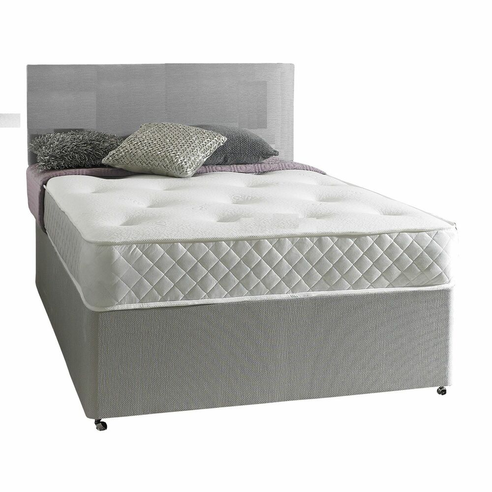 Grey pocket sprung memory foam grey fabric divan bed for 4 6 divan beds