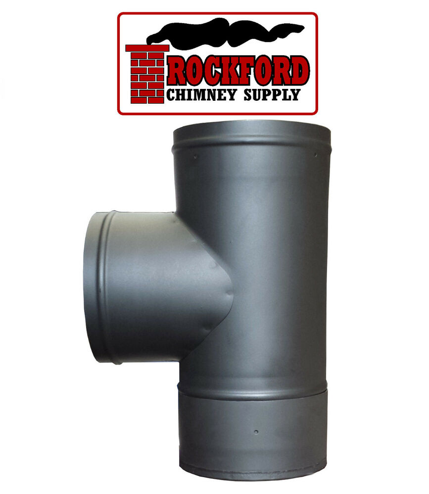 Black single wall chimney stove pipe tee and cap