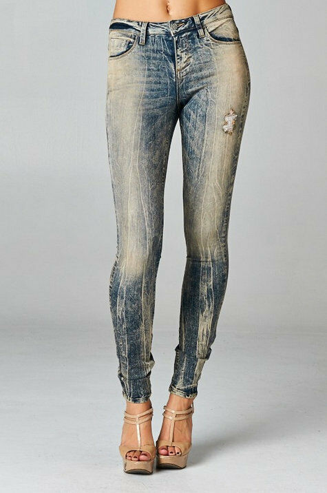 Fashion Trend Vintage Skinny Jeans Ragged Ripped Dirty