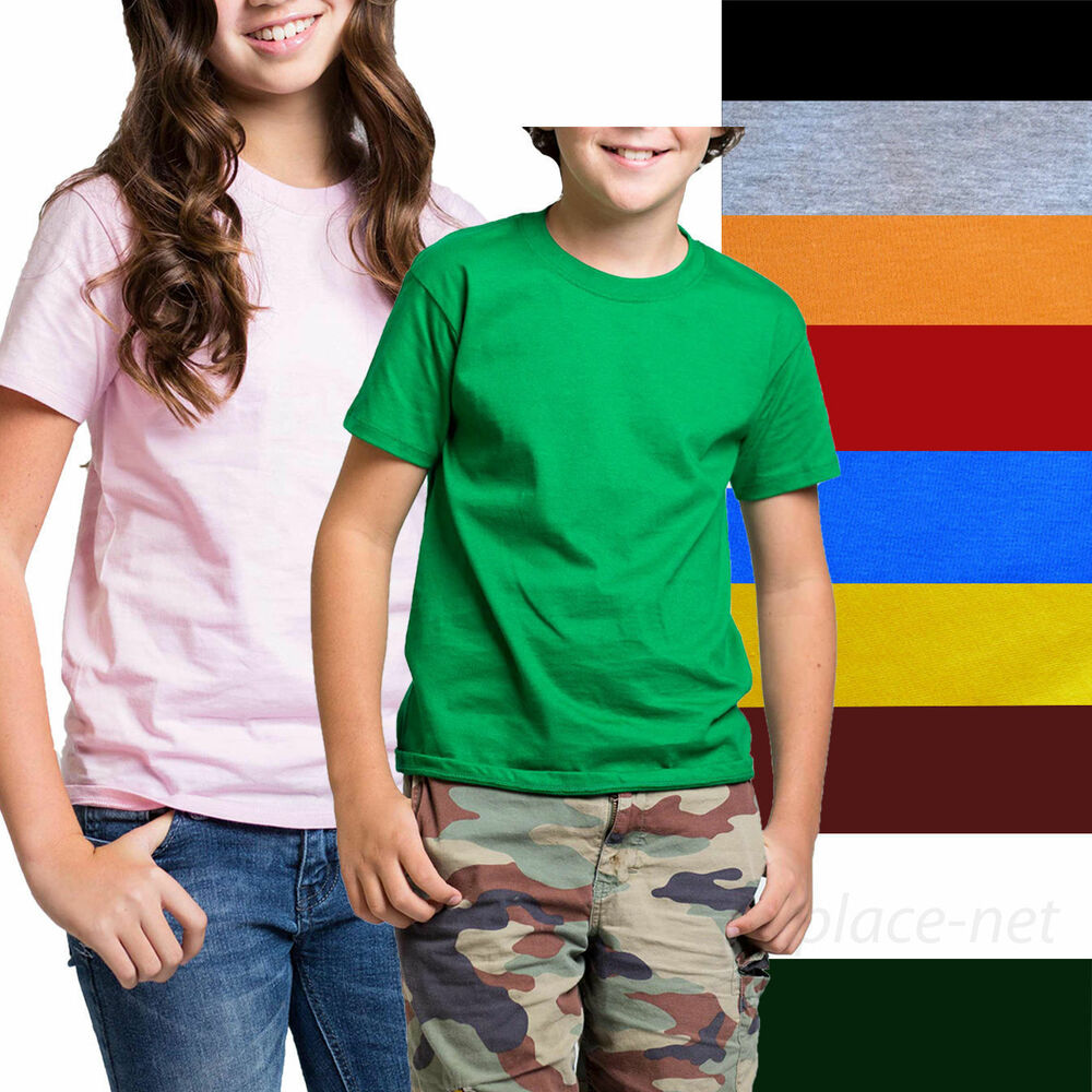 Kids t shirt boy girl short sleeve tee solid color cotton for Boys short sleeve t shirts
