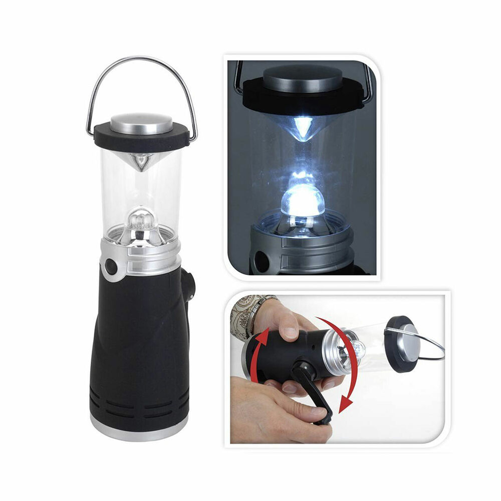 eaxus dynamo camping lampe laterne leuchte 4 led ohne batterien kurbel licht ebay. Black Bedroom Furniture Sets. Home Design Ideas