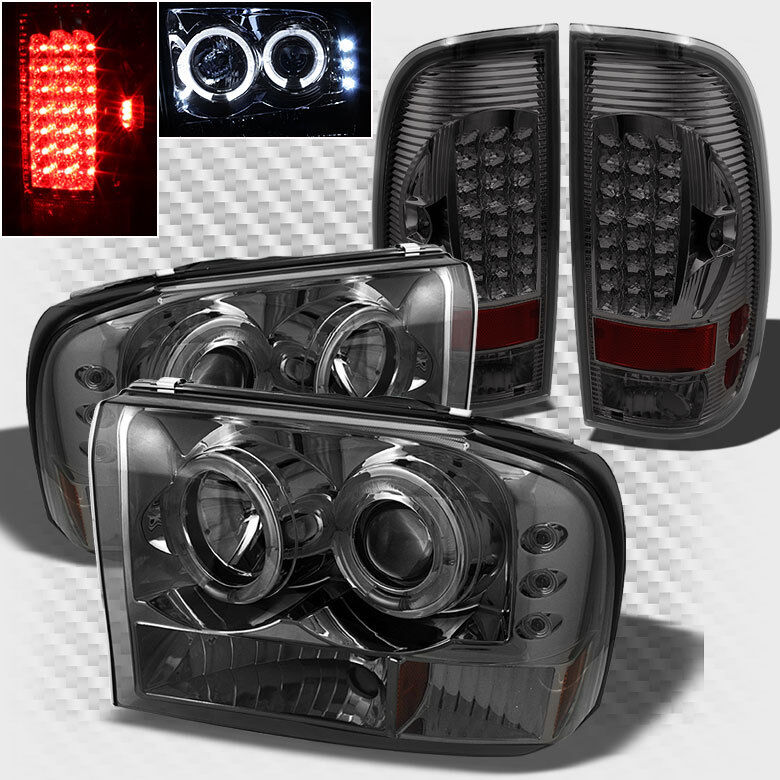 For 99 04 F250 350 450 550 Smoke Halo Led Projector