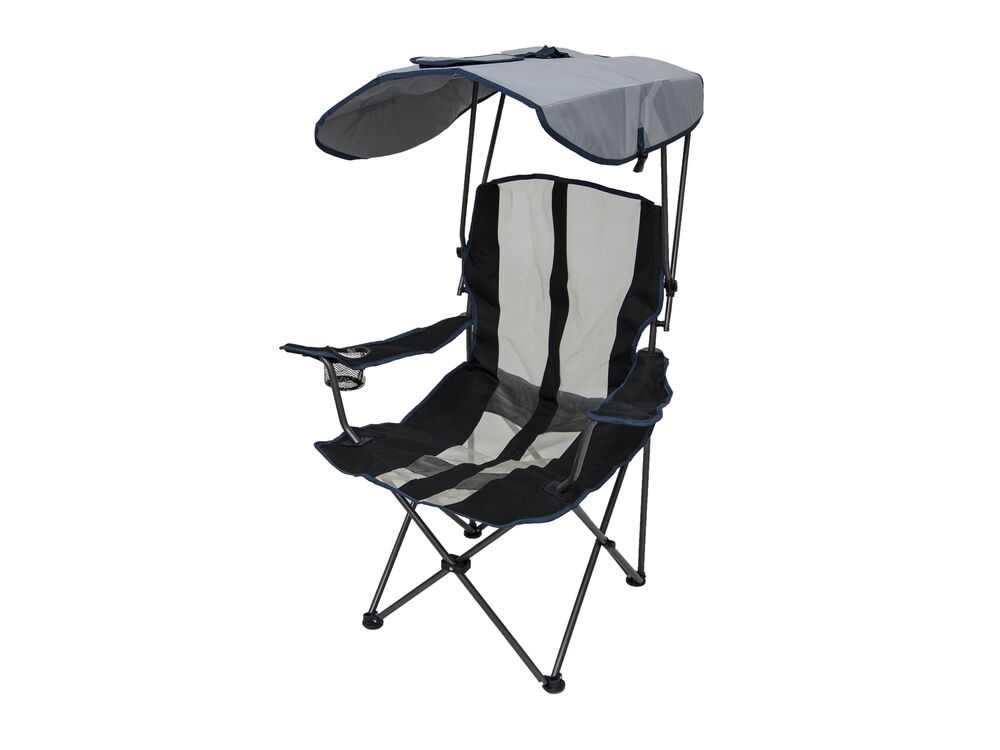 Kelsyus Premium Portable Camping Folding Lawn Chair w Canopy Navy