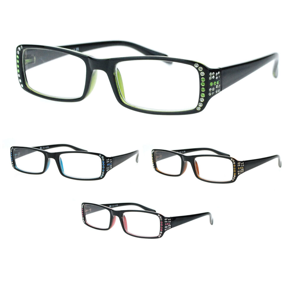 Designer Eyeglass Frames With Rhinestones : Womens Rhinestone Narrow Rectangular Designer Reading ...