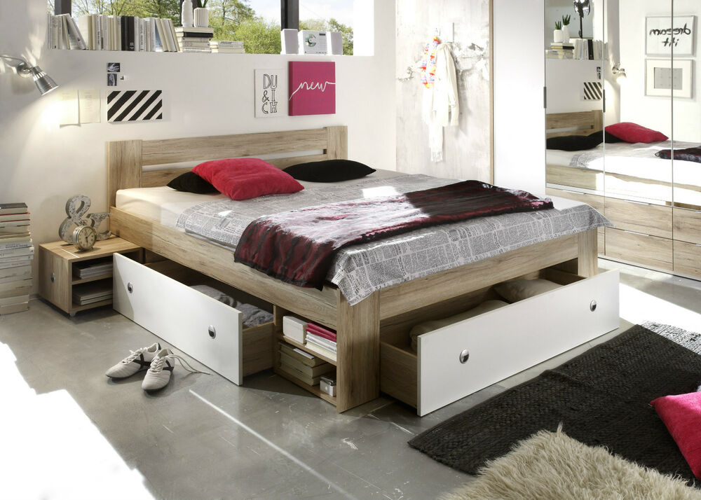 bett stefan bettgestell ehebett schlafzimmer bettkasten doppelbett 180x200 ebay. Black Bedroom Furniture Sets. Home Design Ideas