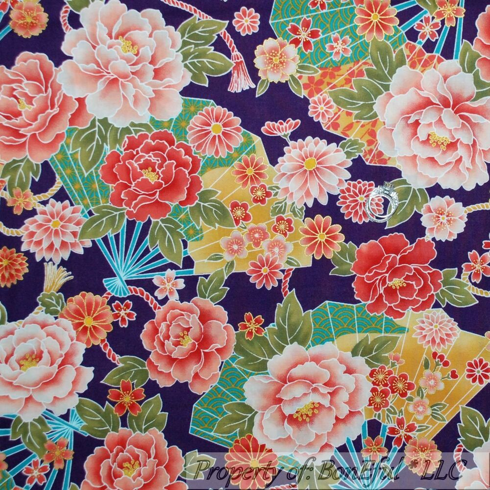 Boneful fabric fq cotton quilt purple red gold flower for Cotton quilting fabric
