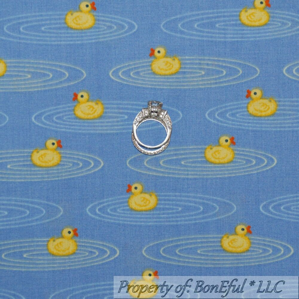 Boneful fabric fq cotton quilt blue yellow baby duck for Yellow baby fabric