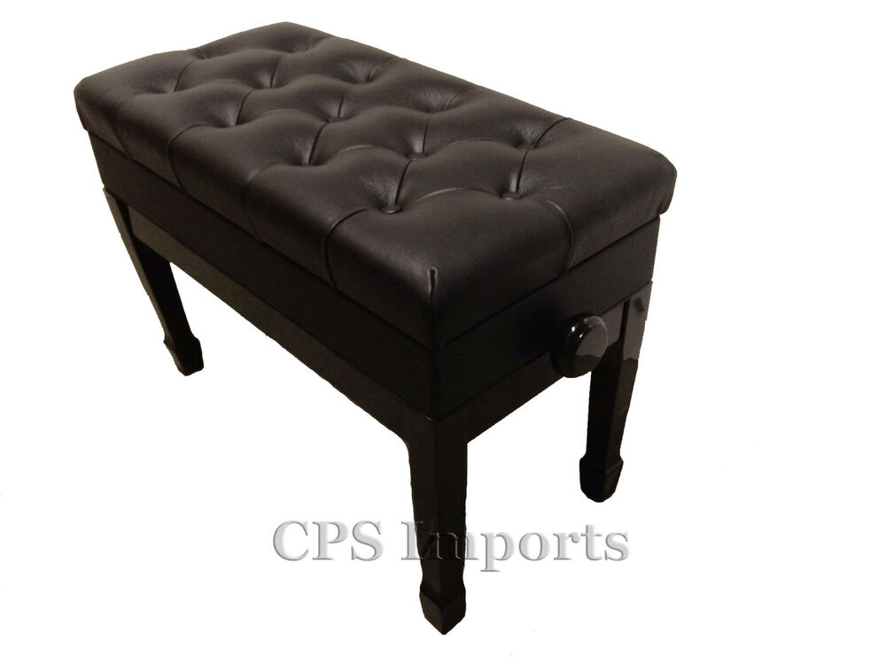 Duet Genuine Leather Ebony Adjustable Piano Bench Stool Chair Ebay