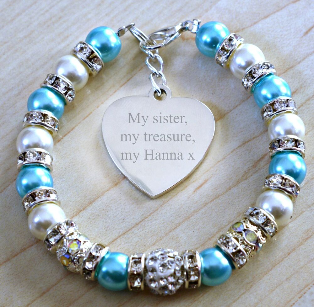 Engraved Charm Bracelet: Engraved Big Little Twin Sister Personalised Heart Charm