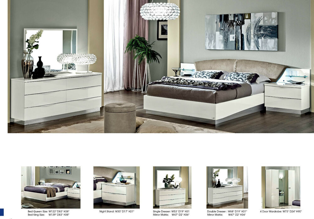 New stunning modern lucio white italian high gloss bedroom for White high gloss bedroom furniture
