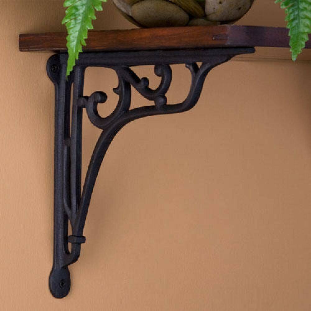 naiture whorl cast iron shelf bracket black powder coat finish ebay. Black Bedroom Furniture Sets. Home Design Ideas