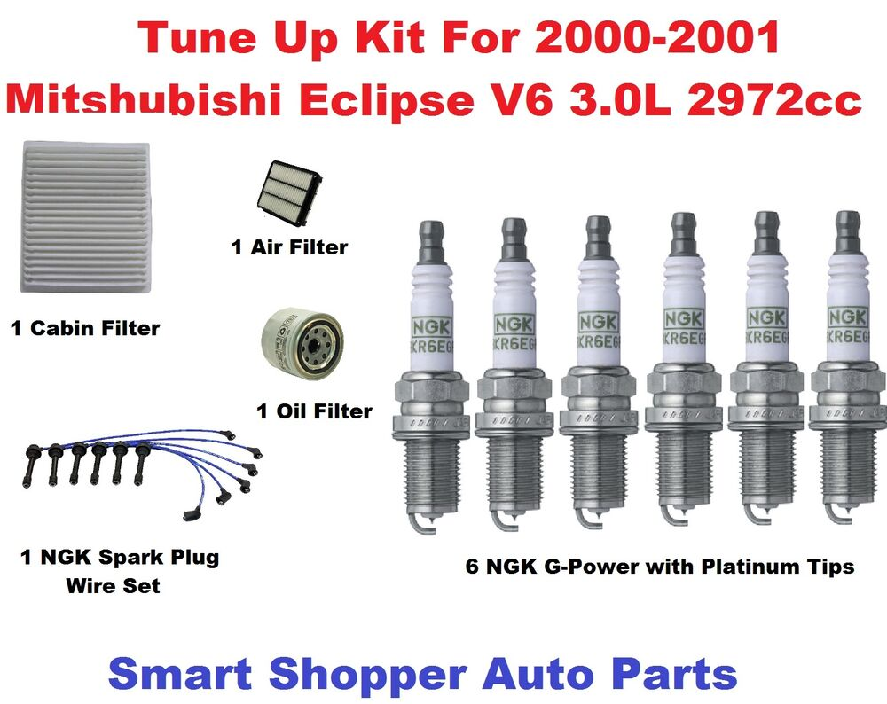 Tune Up Kit For 2000 2001 Mitsubishi Eclipse 30l Spark Plug Air Fuel Filter Cabin Ebay