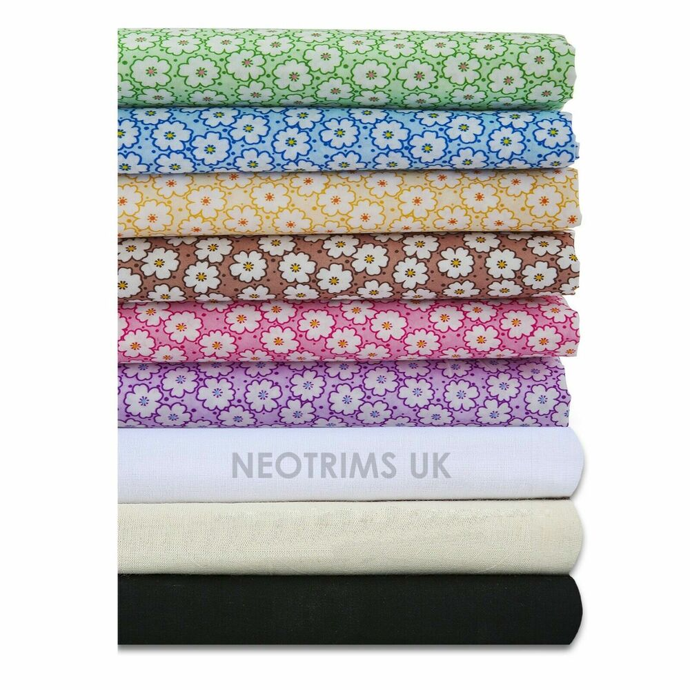 Neotrims daisy dasies dots print woven fabric material for Cheap fabric material