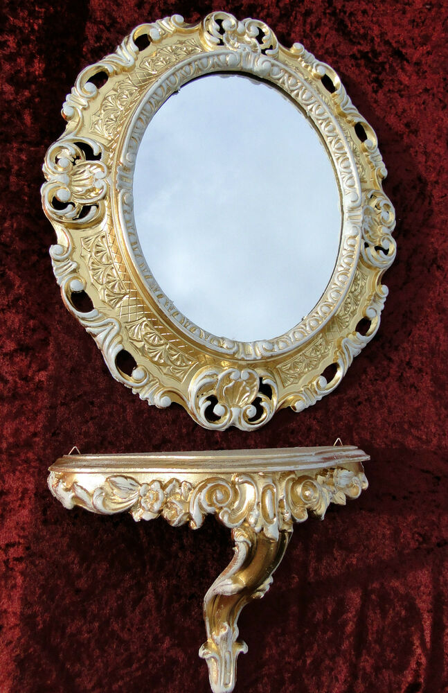 Wall mirror with shelf console shelves m gold white oval for White and gold mirror