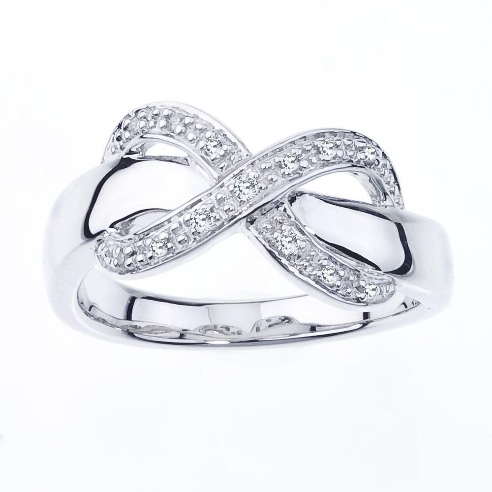 sterling silver diamond accent infinity womens ring. Black Bedroom Furniture Sets. Home Design Ideas