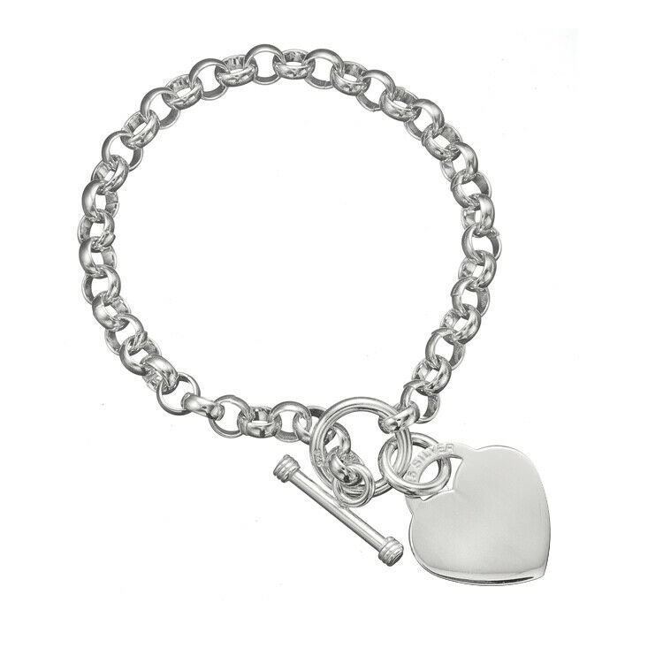Toggle Charm Bracelet: 925 Sterling Silver Rolo Link Chain Engravable Heart Charm