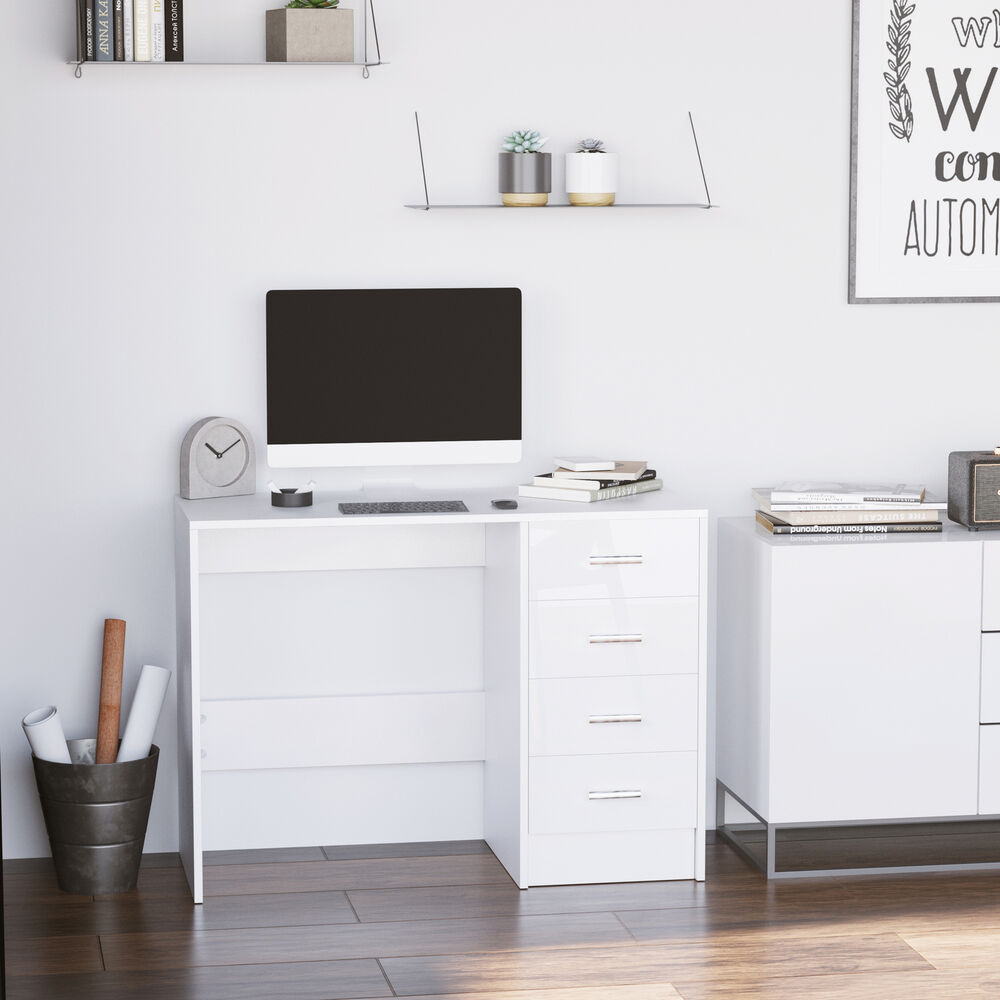 High gloss 4 drawer vanity dressing table computer study for White vanity table with drawers