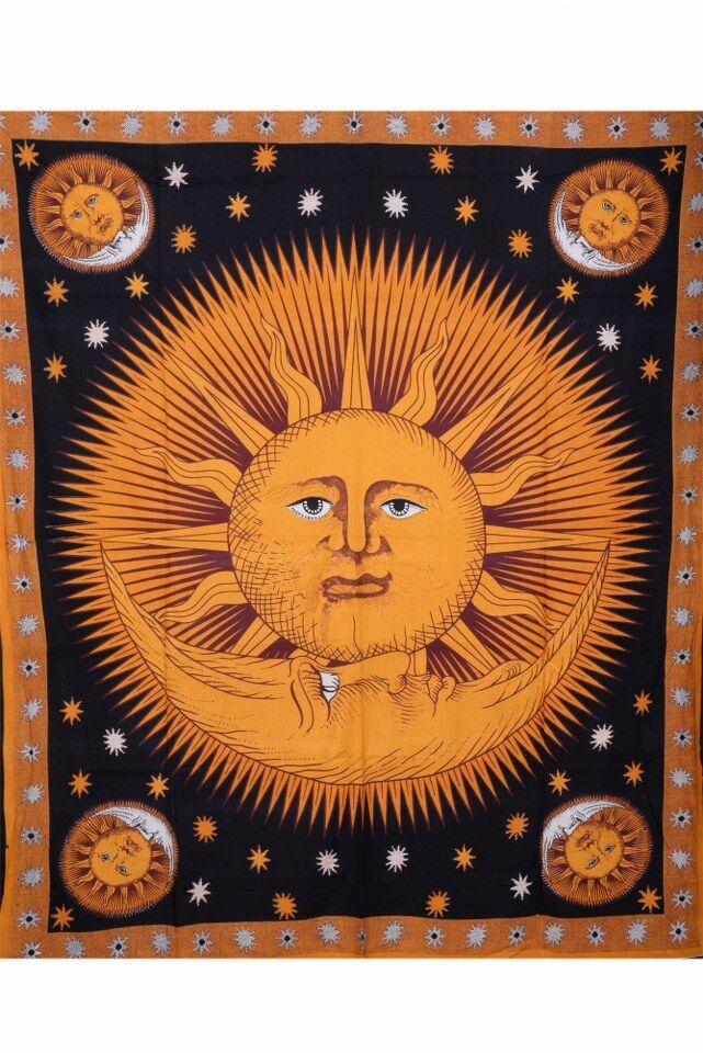 Celestial Tapestry Sun and Moon Tapestries Bohemian Wall Hanging Hippy ...