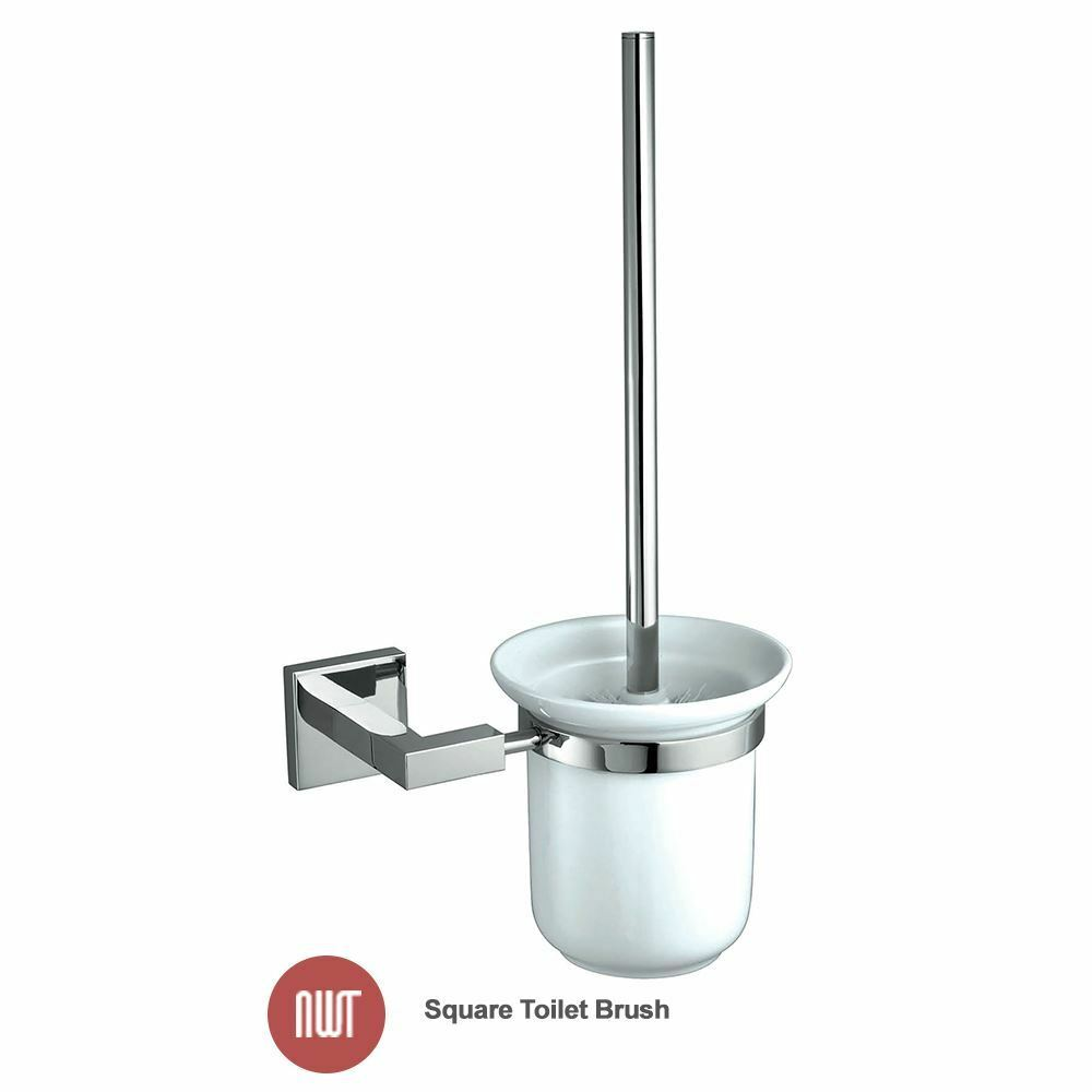 Ducato chrome white ceramic wall mounted toilet brush for Chrome bathroom accessories