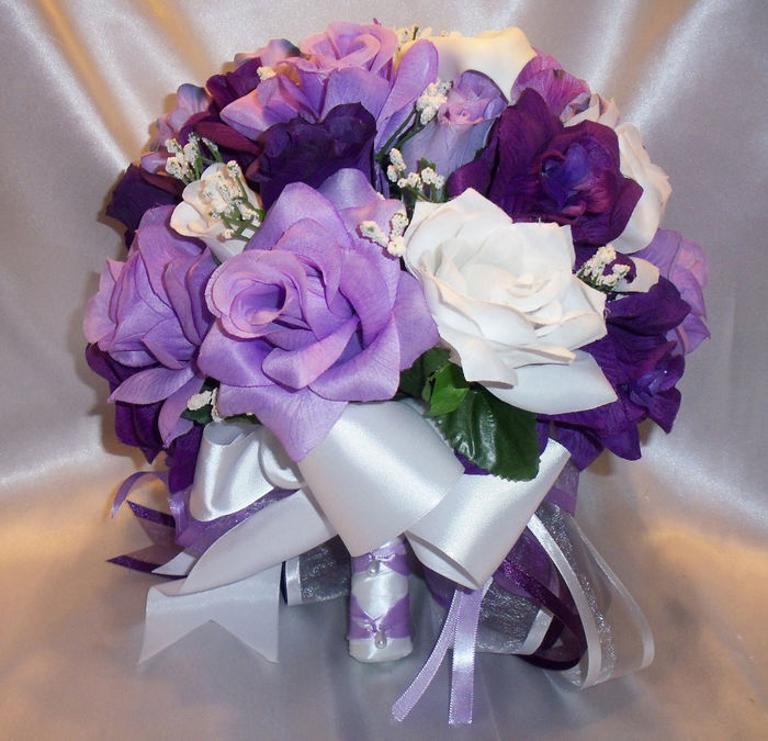 Purple And White Wedding Flower Bouquets: Round Silk Bridal Bouquet Package Purple Lavender White