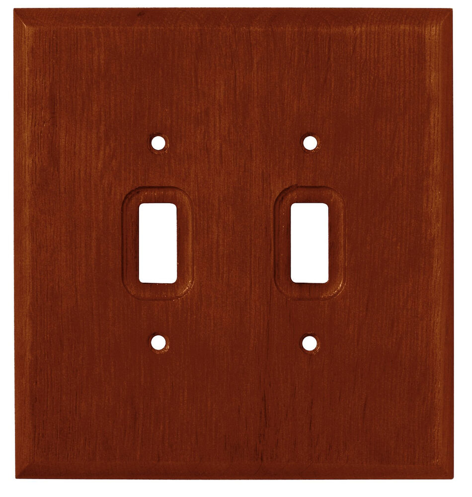 Dark Oak Wood Double Light Switch Wall Plate Outlet Cover