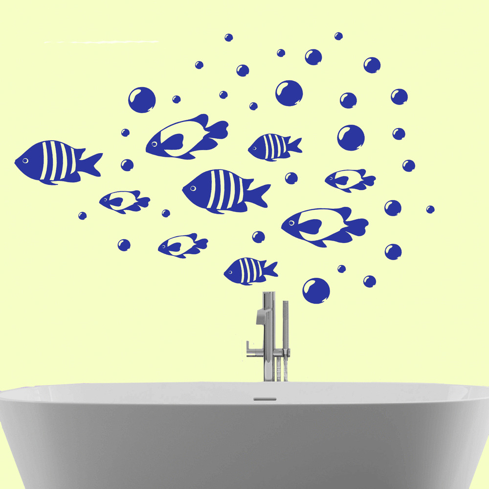 Bathroom wall sticker fish bubbles vinyl wall art decal for Bathroom wall decor uk