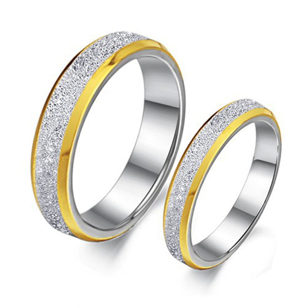 Couple Rings 316L Stainless Steel Two Tone Him and Her Matching Wedding Bands